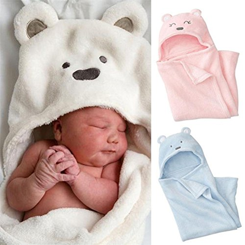 Hooded Baby Blanket (Hooded Towel for Baby,MM&I Lovely Soft Baby Blanket Towels Animal Shape Hooded Bath Towel Bathrobe Clothes (Pink))