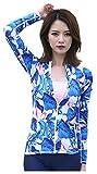 ilishop Women's UV Sun Protection Long-Sleeve Rashguard Zip-Front Rash Guards Blue US4