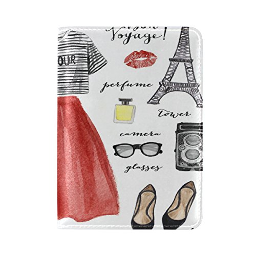 ALAZA Paris Eiffel Tower Lips Leather Passport Holder Cover Case Travel One...