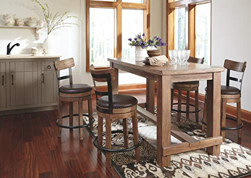 Ashley Furniture Signature Design - Pinnadel Counter Dining Table - Weathered Brown Finish w/ Gray Undertones by Signature Design by Ashley (Image #7)