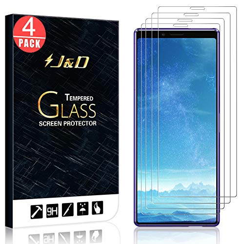 J&D Compatible for 4-Pack Xperia 1 Glass Screen Protector, [Tempered Glass] [Not Full Coverage] HD Clear Ballistic Glass Screen Protector for Sony Xperia 1 Screen Protector (Protector Screen J Sony Xperia)