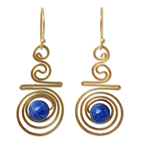 NOVICA Hand Crafted Lapis Lazuli and Yellow Gold Plated Brass Earrings, Follow the Dream' (Lapis Earrings Yellow)