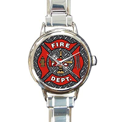 Unique Christmas Gift Watch Cool Fireman Emblem on Iron Plate Round