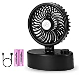 [2018 New Version] Mini Oscillating Table Fan - Battery & USB Operated - 4400mAh Rechargeable Battery - Stepless Speed Regulating Cooling Fan – Powerful Wind Super Quiet Personal Fan for Home Office
