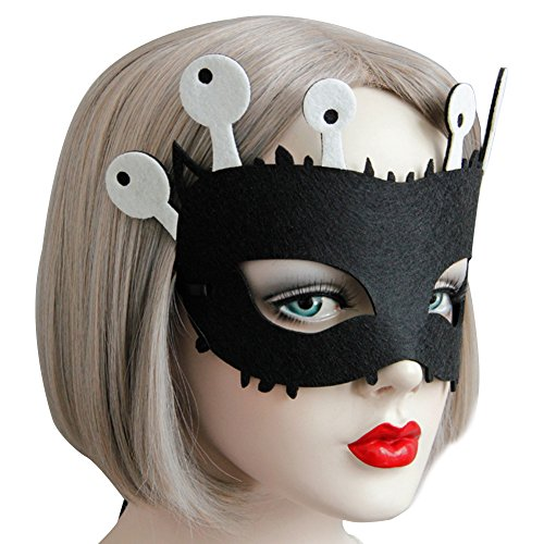 Pcongreat Pcongreat New Halloween Costume Accessories For Kids Adults Special Festival Offers Cute Cartoon Monster Horn Eye Mask Decor for Masquerade Halloween Fancy Party Black -