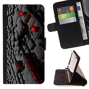 For Samsung Galaxy A5 ( A5000 ) 2014 Version Case , Pared 3D Rojo Negro Arte- la tarjeta de Crédito Slots PU Funda de cuero Monedero caso cubierta de piel