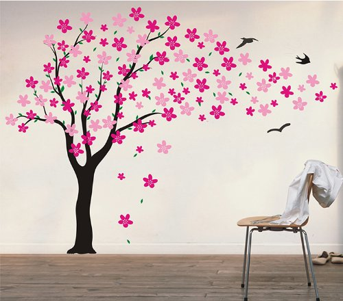 PopDecors - Drifting flowers and birds (71inch H) - Custom Beautiful Tree Wall Decals for Kids Rooms Teen Girls Boys Wallpaper Murals Sticker Wall Stickers Nursery Decor Nursery Decals