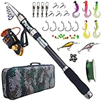 AGOOL Fishing Rod and Reel Combo Carbon Fiber Telescopic...