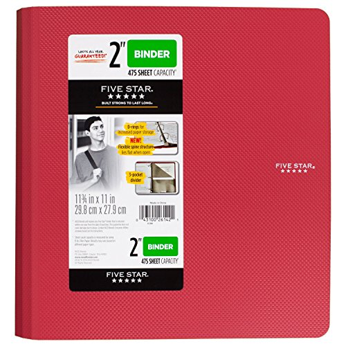 Five Star 2 inch 3 Ring Binder, Plastic, Red (73300) by Five Star