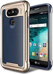 LG G5 Case, E LV LG G5 - Hybrid [Scratch/Dust Proof] Armor Defender Slim Shock-Absorption Bumper Case for LG G5 - [DARK BLUE/GOLD]