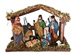 Wood and Ceramic Christmas Nativity Scene with Creche (Arched)