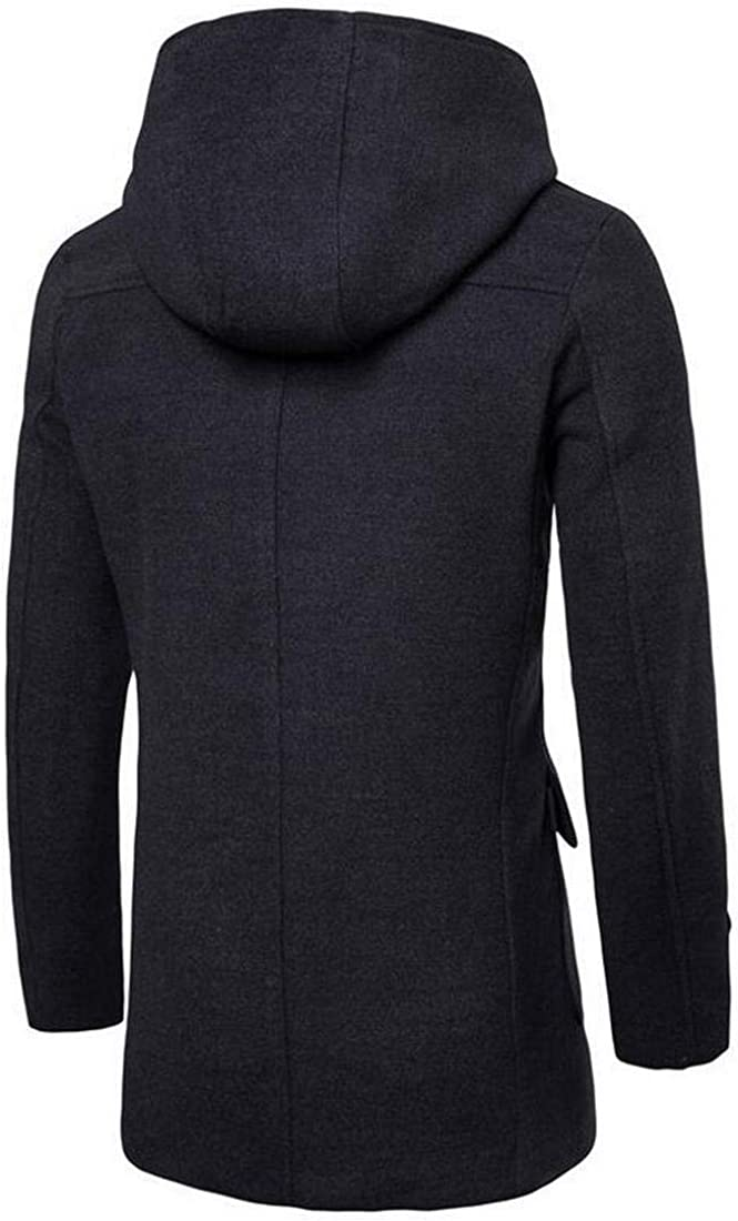 Fensajomon Mens Turtleneck Horn Button Contrast Longline Hooded Wool Blend Trench Coat Jacket Outerwear