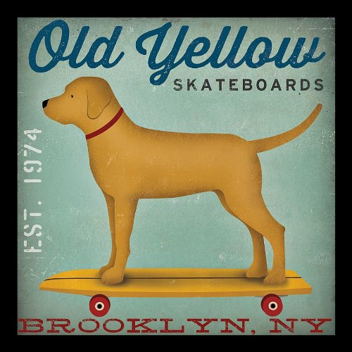 buyartforless IF WAP 15706 12x12 1.5 Black Glass Framed Old Yellow Skateboards Golden Yellow Lab Dog On Skateboard Brooklyn Ny by Ryan Fowler 12X12 Skateboard Signs Dogs