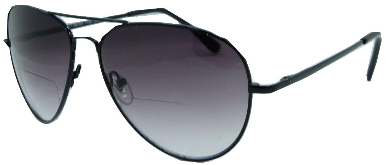 In Style Eyes C.Moore Aviator Bifocal Sunglasses Black 3.25 Strength by In Style Eyes
