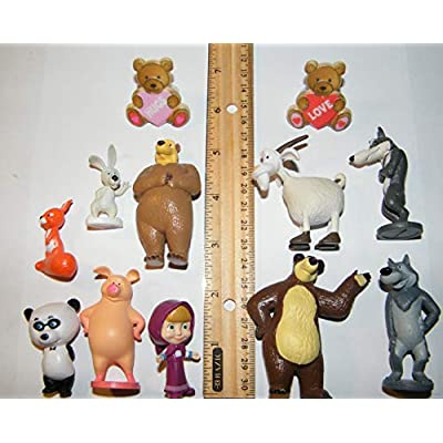 Party Fun Masha and The Bear Quality Figure Set of 10 Toy Set with 2 BearRings, Featuring Masha, Bears, Shy Wolf, Sly Wolf, Pig Rosie and More!: Toys & Games