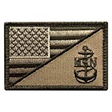 Miltacusa American USA Flag Navy Anchor Morale Hook Fastener Patch (MTN1)