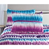 zone 3 Piece Teen Girls Reversible Tie Dye Ombre Ruched Full/Queen Comforter Set, Purple and Blue