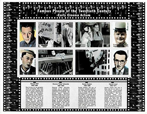 Famous Early Movie Actors - Buster Keaton, George Raft & Others - 100 Years of Cinema - Limited Edition Collectors Stamps - Grenada