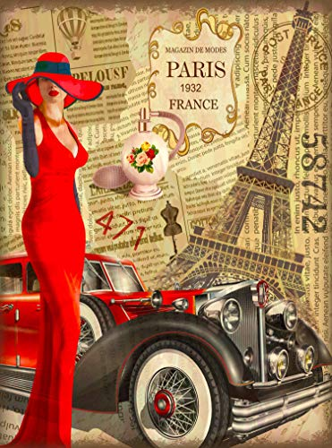 (1932 Paris France Eiffel Tower Girl in Red Car French Retro Travel Home Collectible Wall Decor Advertisement Art Deco Poster Print. 10 x 13.5)