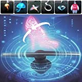 Allrise 3D Hologram Advertising LED Fan, displaying 3D Holographic Photos and Videos, Promotional Advertising Player Machine (46.5cm/18.31in Diameters)