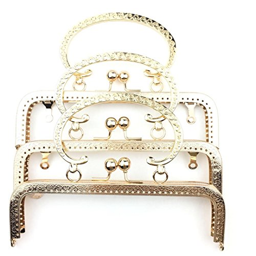 Craft Beaded Coin Purse - Guo Fa 3PCS 20CM Square Embossed C-Shaped Handle Purse Frame Big S Pattern Handle for Bag Sewing Craft Square Gold