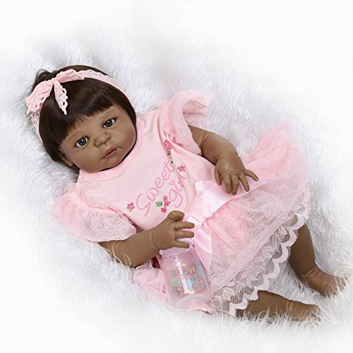 Pinky 23 Inch 57cm Realistic Looking Reborn Baby Girl Doll Full Body Silicone Lifelike Newborn Doll Toddler Black Skin Girl Native American Indian Style Birthday and Xmas Gift by Pinky Reborn (Image #1)