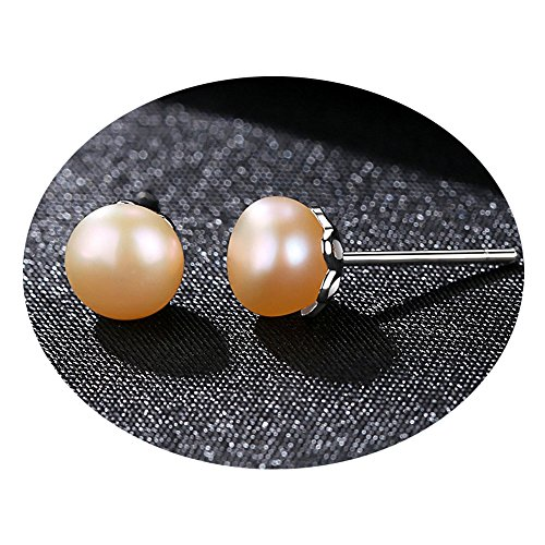 Bigbabybig 925 Sterling Silver Natural Shell Pearl Stud Earrings for Women Crystal (Pink) (Sterling Silver Natural Shell)