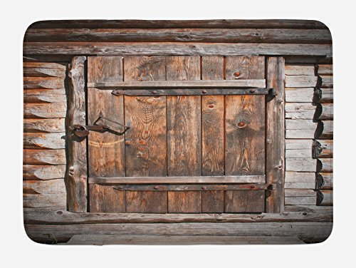 """Ambesonne Vintage Bath Mat, Rustic Wooden Door of Old Barn in Farmhouse Countryside Village Aged Rural Life Image, Plush Bathroom Decor Mat with Non Slip Backing, 29.5"""" X 17.5"""", Brown"""