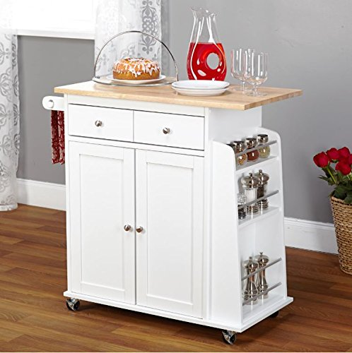 Kitchen Island On Wheels Cart With Storage Cabinet and Drawers Wood Shelves Red