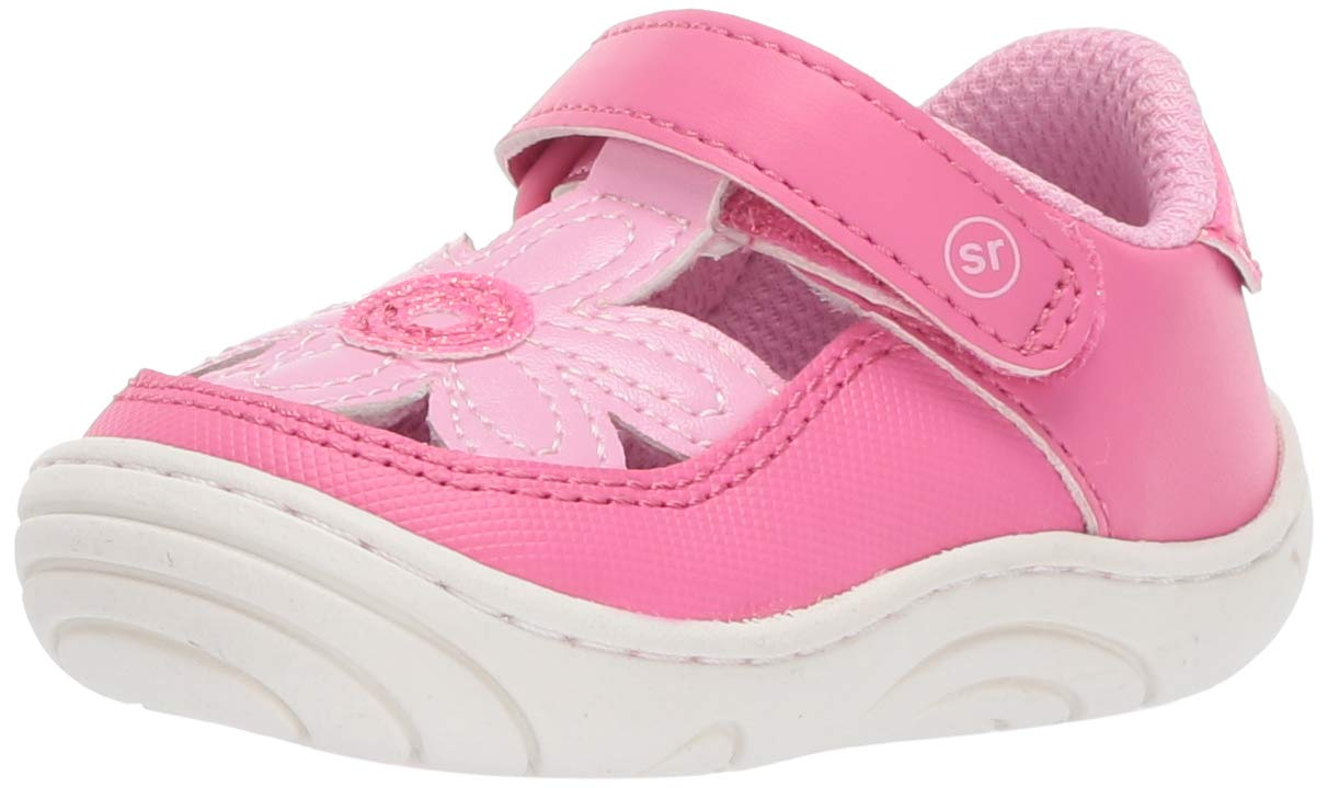 Stride Rite Daisy Girl's Flower T-Strap Sneaker, pink, 4 M US Toddler