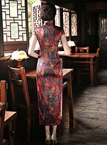 Blumendruck Cheongsam Lang Qipao A Chinesischen Stil für Damen Bankett ACVIP Kleid awSXX