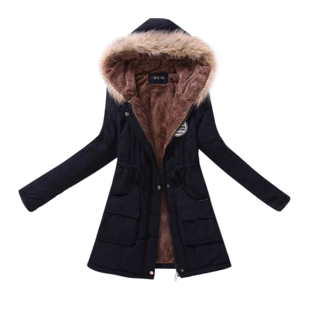 Amazon.com: Studyset Warm Coat Cotton Wadded Jacket Down Jacket Women Long with Hood Fluffy Collar Tight Waist Cotton Jackets Plus Velvet Thickening Warm ...