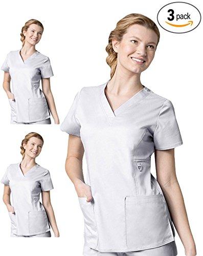 maevn-eon-1708p3-women-v-neck-pocket-top-pack-of-3-white-medium