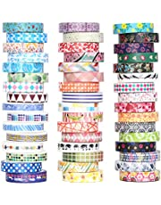48 Rolls Washi Tape Set - 8mm Wide Decorative Masking Tape, Colourful Flower Style Design for DIY Craft Scrapbooking Gift Wrapping