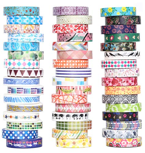 48 Rolls Washi Tape Set - 8mm Wide Decorative Masking Tape, Colorful Flower Style Design for DIY Craft Scrapbooking Gift Wrapping ()