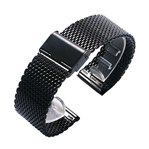 YISUYA 20mm Solid Milanese Mesh Stainless Steel Strap with Hook Buckle Classic Black Watch Band Straps 2.0cm (Black Mesh Bracelet Watch)