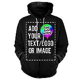 Design Your OWN Hoodie-Custom Full-Zip Hoodies Zipper Sweatshirts Hooded Team Sweaters