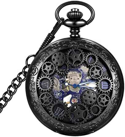 LYMFHCH Steampunk Blue Hands Scale Mechanical Skeleton Pocket Watch (Black)