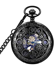 LYMFHCH Steampunk Blue Hands Scale Mechanical Skeleton Pocket Watch with Chain As Xmas Fathers Day Gift (Black)