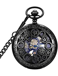 Steampunk Blue Hands Scale Mechanical Skeleton Pocket Watch