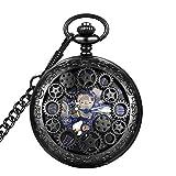 LYMFHCH Steampunk Blue Hands Scale Mechanical Skeleton Pocket Watch (Black)