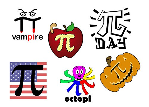 Pi Day Tattoos Pack - 30pc - 1.5/1.5 - Pi Day - High School - Middle School - Academic Tattoos