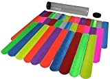 Gingerscoolstuff 35 Slap Bracelets. Kids Boys Girls Party Favors. All Solid Colors. Over 8''. Storage Tube Included.