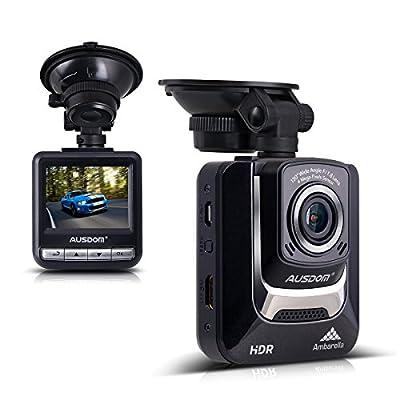 """Ausdom AD282 Dash Cam, 2.4"""" LCD Car DVR Video Recorder with 1296 P Ambarella A7LA50 Camcorder Vehicle Camera by AUSDOM"""