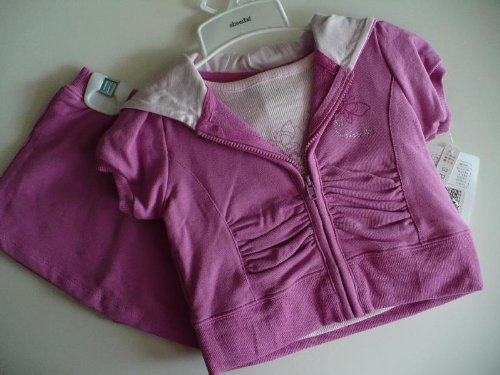 Absorba Baby Clothes Girl Berry Pink Butterfly T-Shirt Hoodie & Skort 3PC set 18M