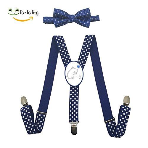 Xiacai Hippo Love Suspender&Bow Tie Set Adjustable Clip-On Y-Suspender Children by Xiacai
