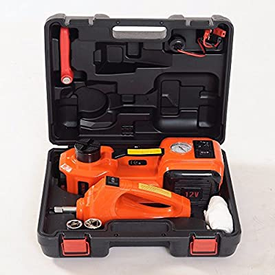 URSTAR 3 In 1 Electric Hydraulic Car Floor Jack, Electric Impact Wrench, Electric Inflator Pump, 12V DC 5.0 Ton Automatic Emergency Lift For Cars,Sedans, Vans, SUVs