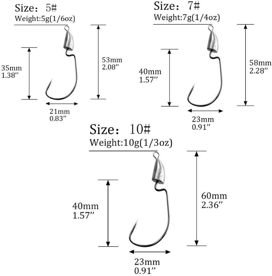 CCH-HOOKS 10pcs lot Ganchos de pesca de cabeza de plomo 5g 7g 10g Ganchos de cabeza de plantilla de bala Astilla Ganchos de gusano compensados sin hierba Accesorios de plataformas de Texas