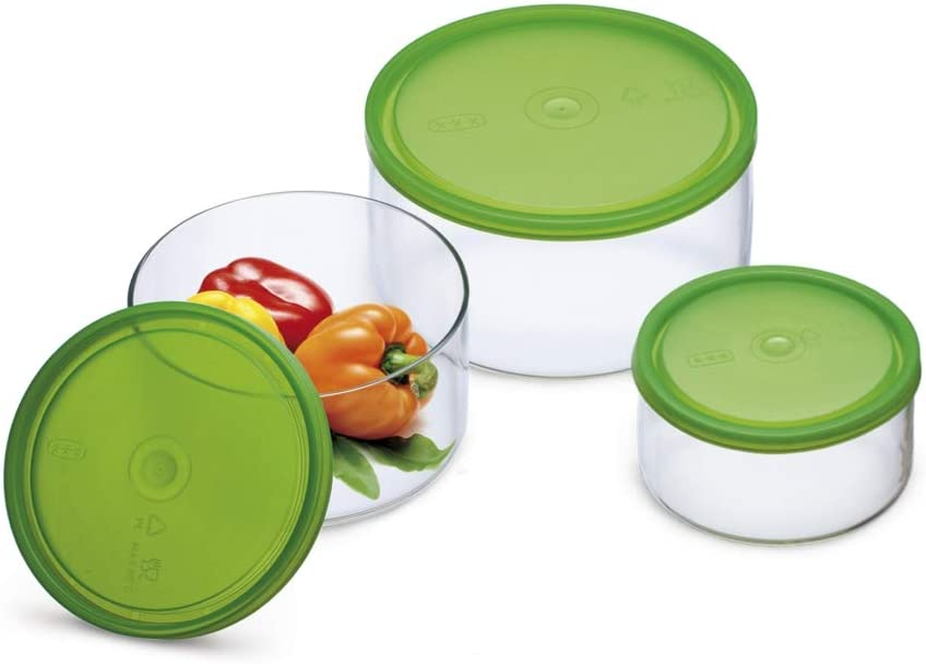 Simax Round Glass Meal Prep and Storage Containers | With Plastic Lids – 3 Piece Set, Assorted Sizes – Oven, Microwave, and Dishwasher Safe – Includes 50 Oz, 27 Oz, 13.5 Oz Borosilicate Containers