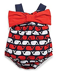 Mud Pie Baby-Girls Newborn Whale Bow Bubble Swimsuit, Blue, 0-6 Months